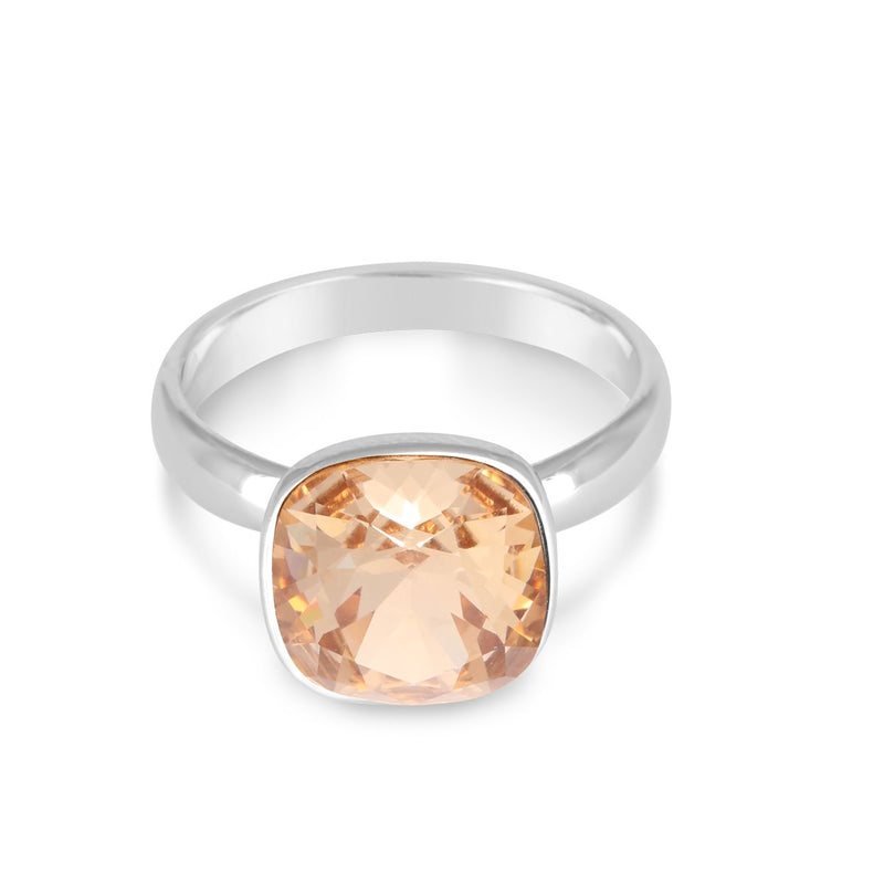 CUSHION SOLITAIRE RING GOLDEN SHADOW RING - FOREVER - ESSENTIALS - GOLDEN SHADOW 001