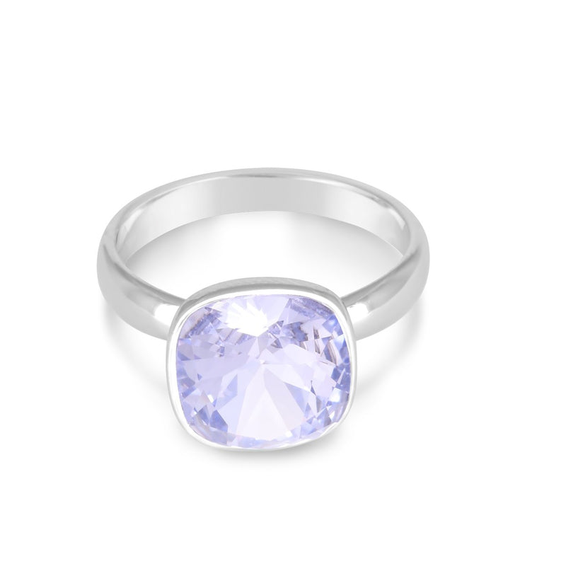 CUSHION SOLITAIRE RING PROVENCE LAVENDER ESSENTIALS FOREVER CRYSTALS