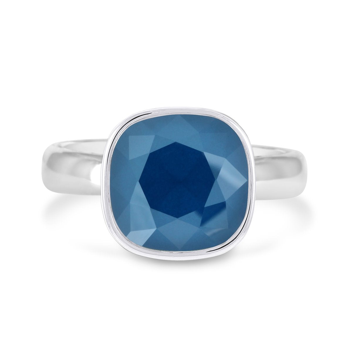 CUSHION SOLITAIRE RING ROYAL BLUE ESSENTIALS FOREVER CRYSTALS