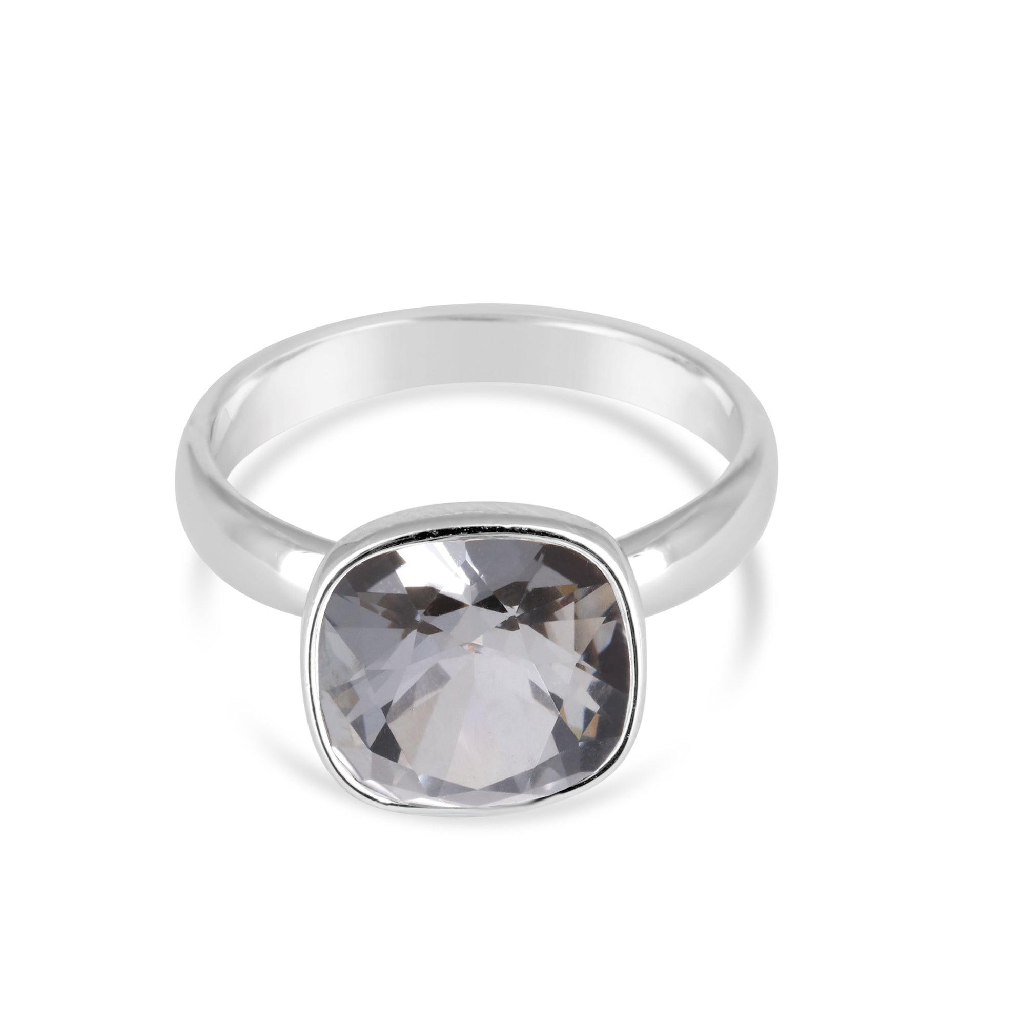 CUSHION SOLITAIRE RING SILVER NIGHT RING - FOREVER - ESSENTIALS - SILVER NIGHT 001