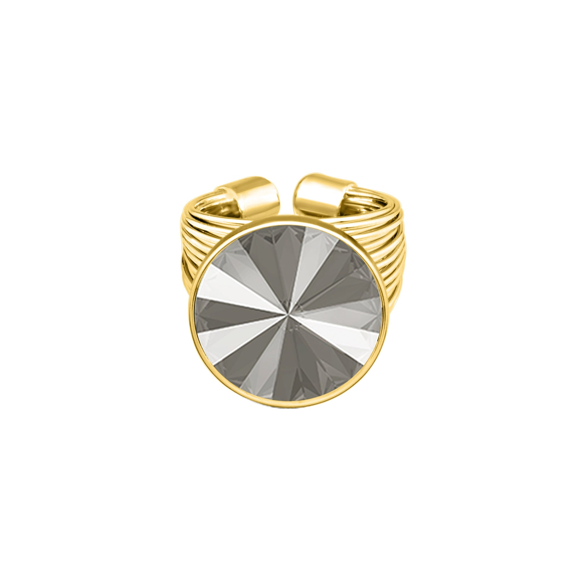 Daisy Ring Gold Dark Grey