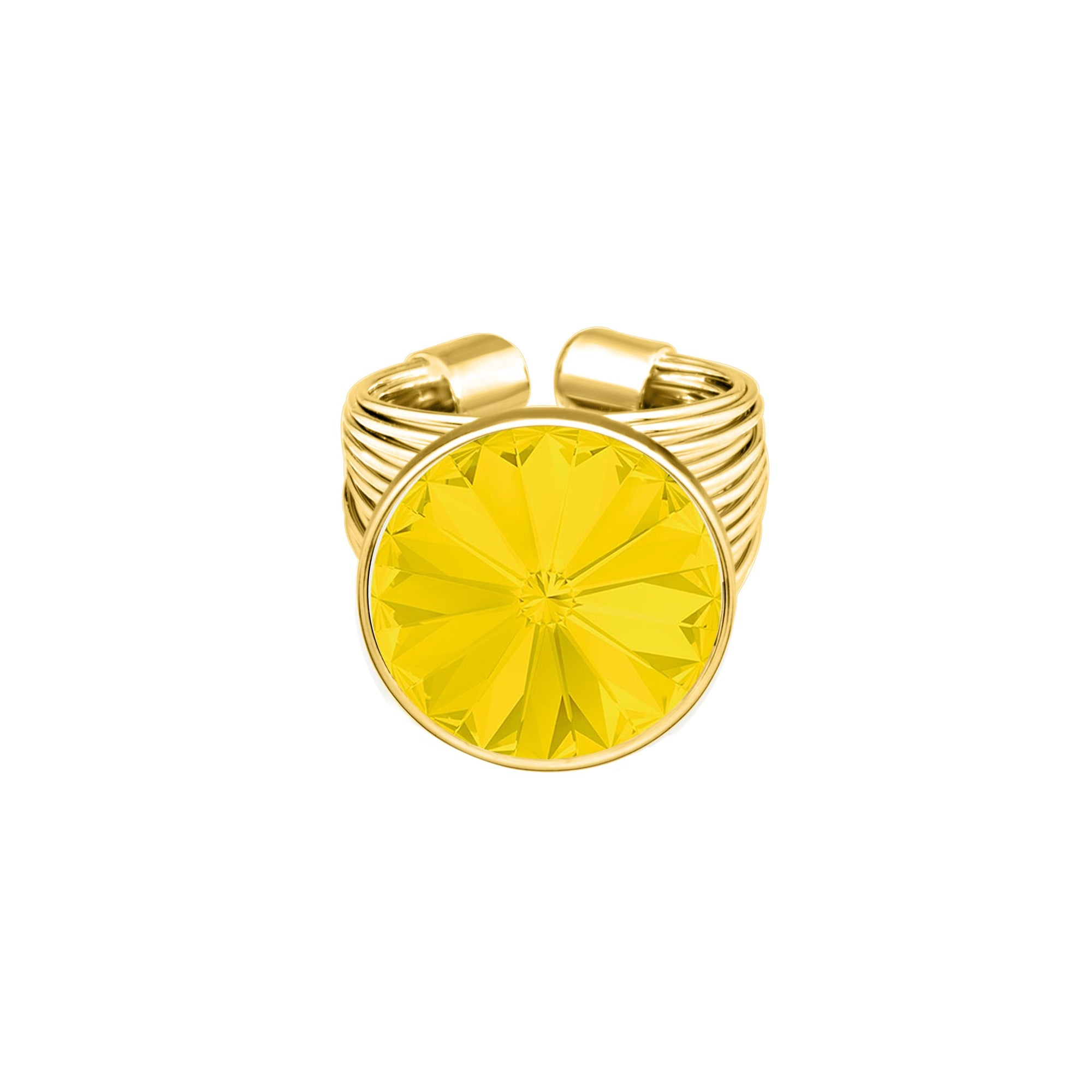 Daisy Ring Gold Yellow Opal