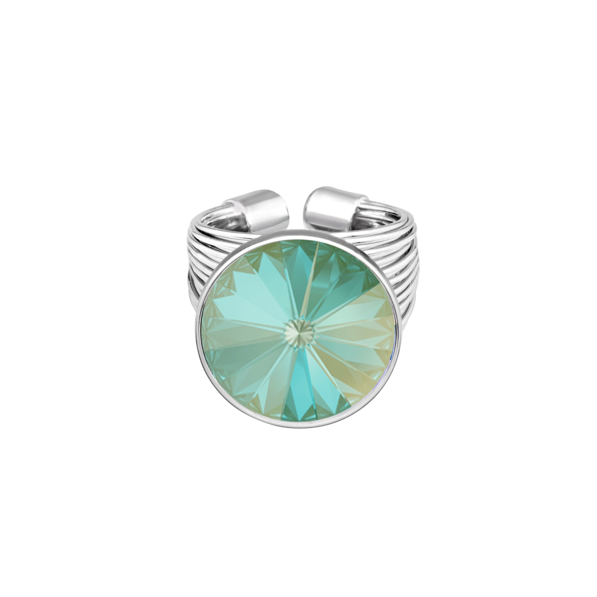 Daisy Ring Silver Radiant Green