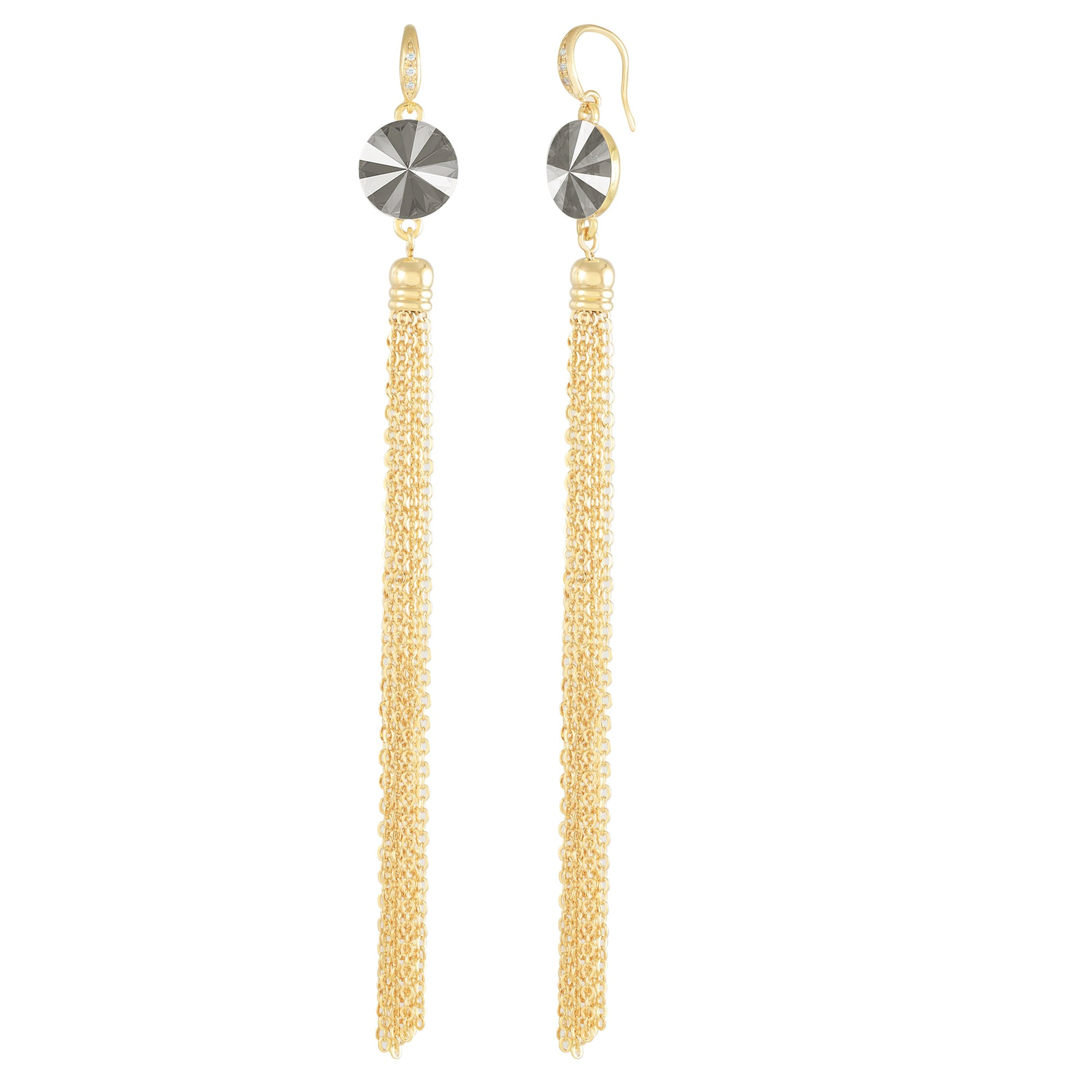 Daisy Tassel Earring Gold Dark Grey NEW BEGINNINGS FOREVER CRYSTALS