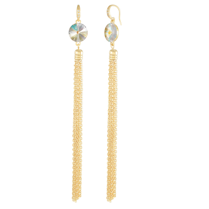 Daisy Tassel Earring Gold Light Grey Delite NEW BEGINNINGS FOREVER CRYSTALS