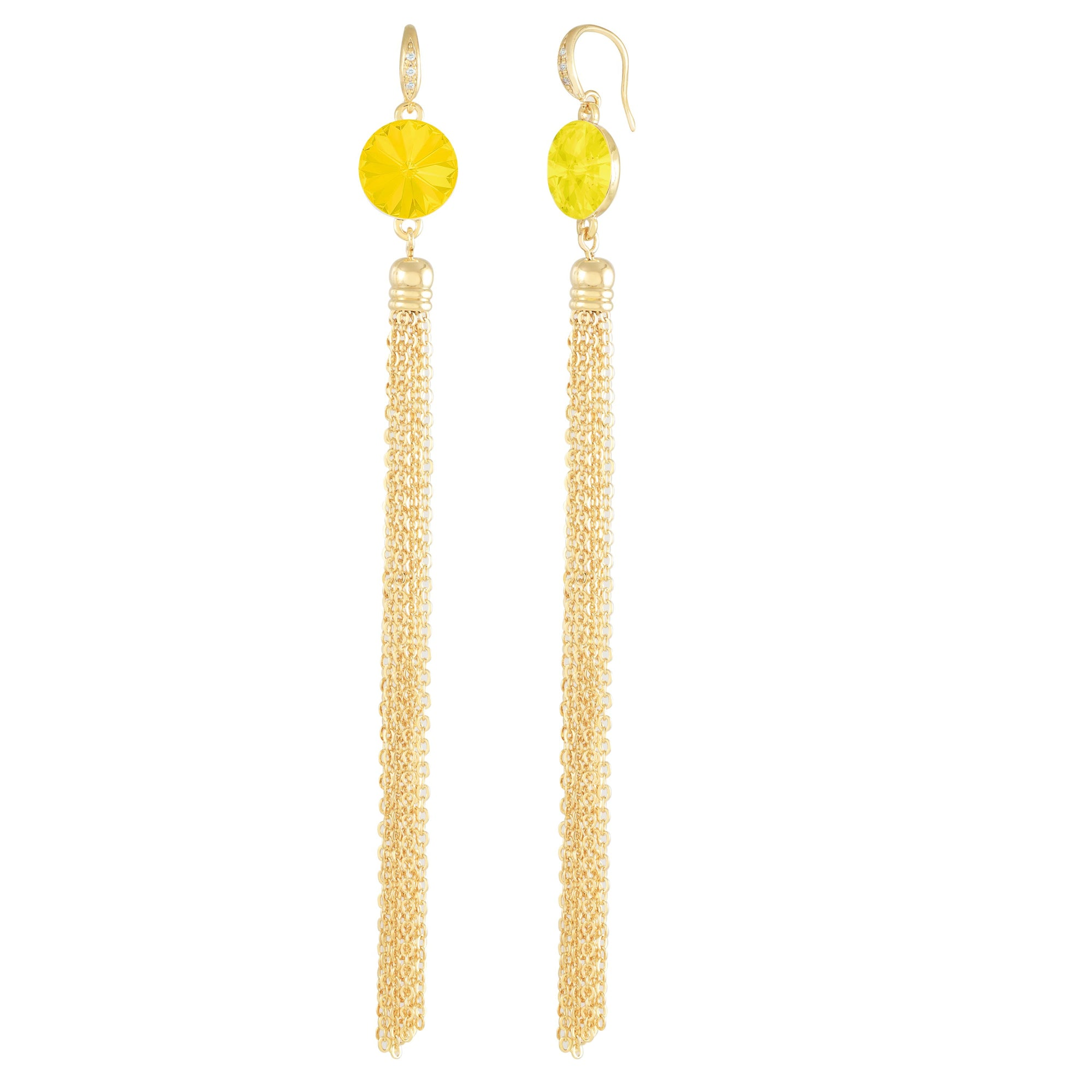 Daisy Tassel Earring Gold Yellow Opal NEW BEGINNINGS FOREVER CRYSTALS