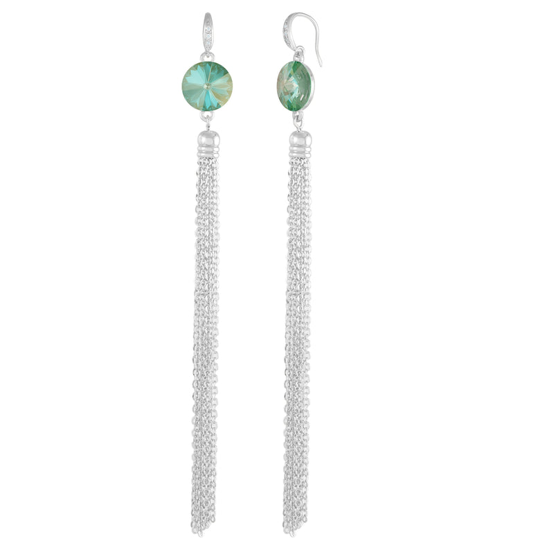 Daisy Tassel Earring Silver Radiant Green NEW BEGINNINGS FOREVER CRYSTALS