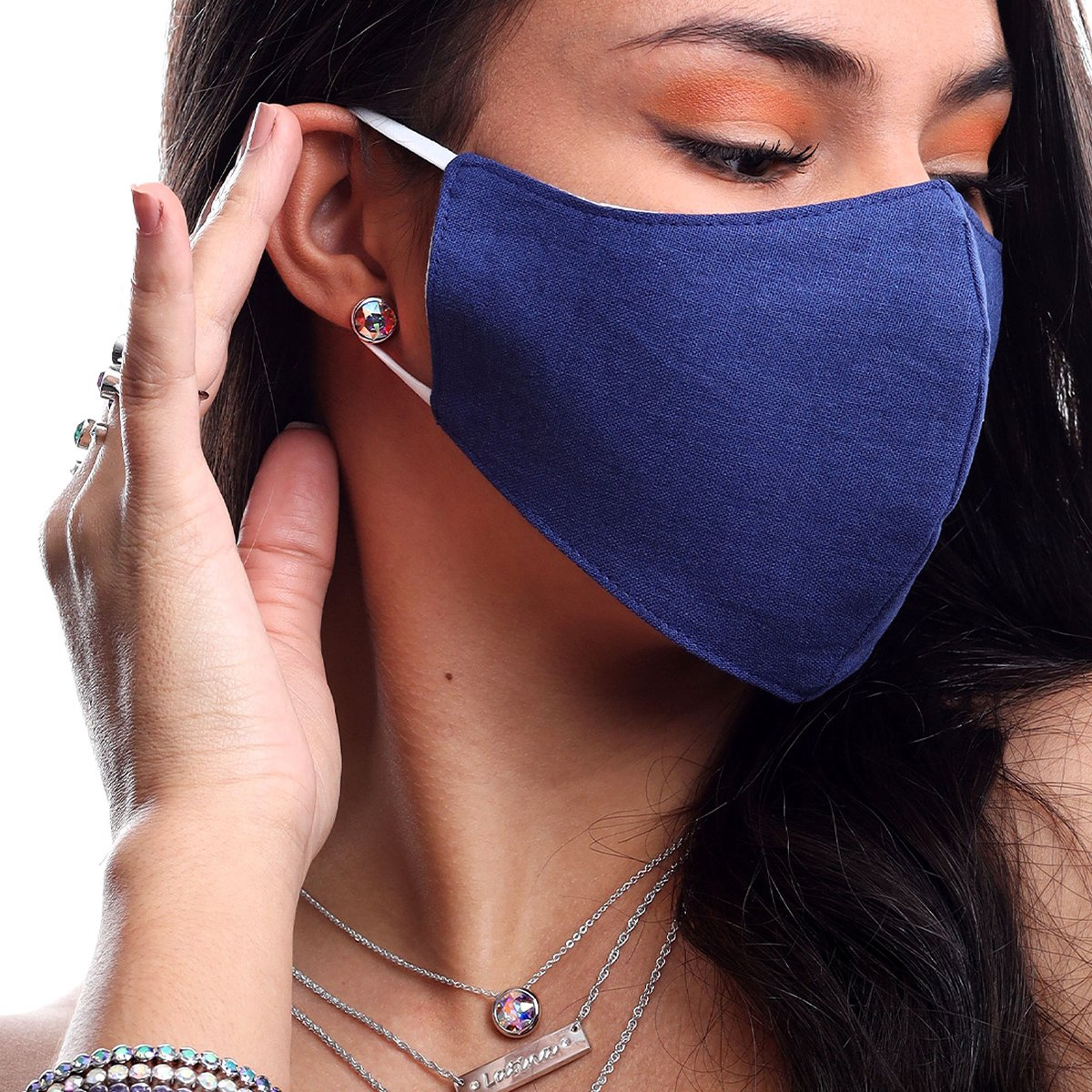 DENIM FACE MASK DARK BLUE ACCESSORY - FOREVER Forevercrystals