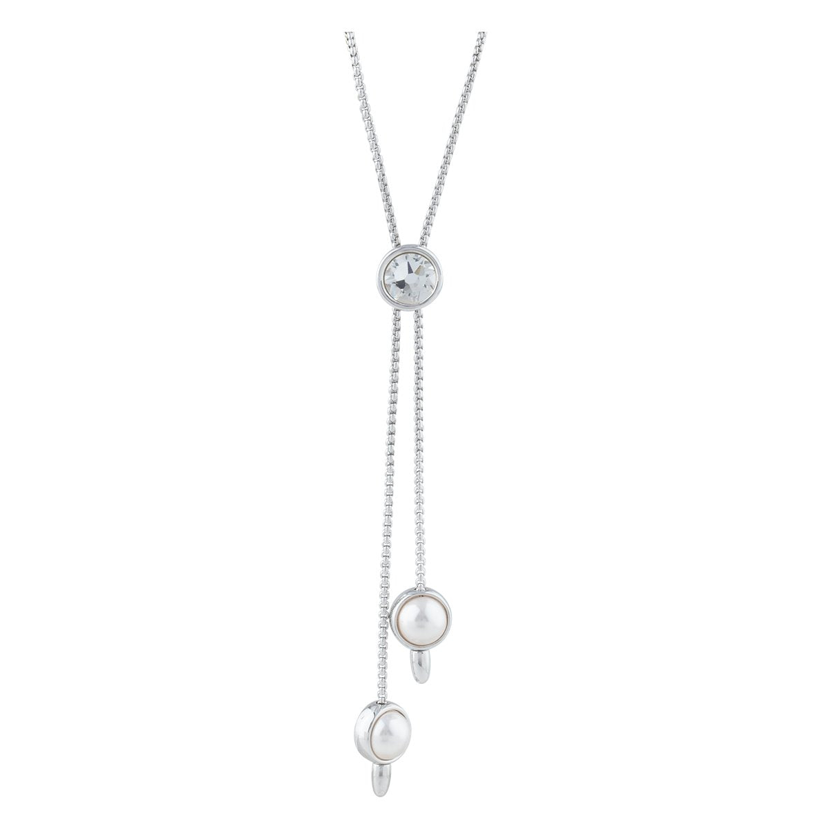 DORIS NECKLACE SLIDER SILVER CRYSTAL