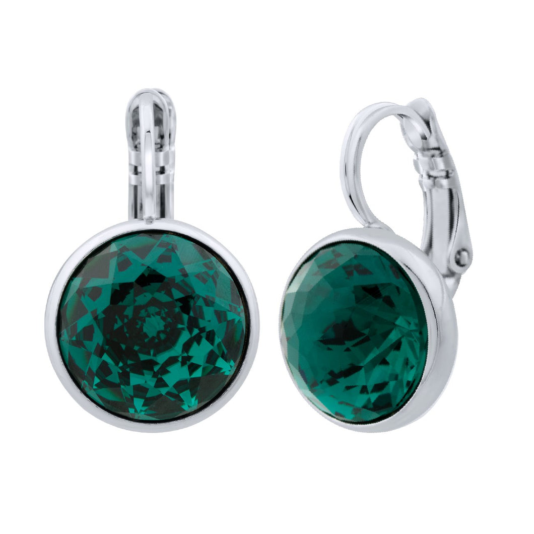 Elysees Huggie Earrings Silver Emerald JOY OF SPARKLE FOREVER CRYSTALS