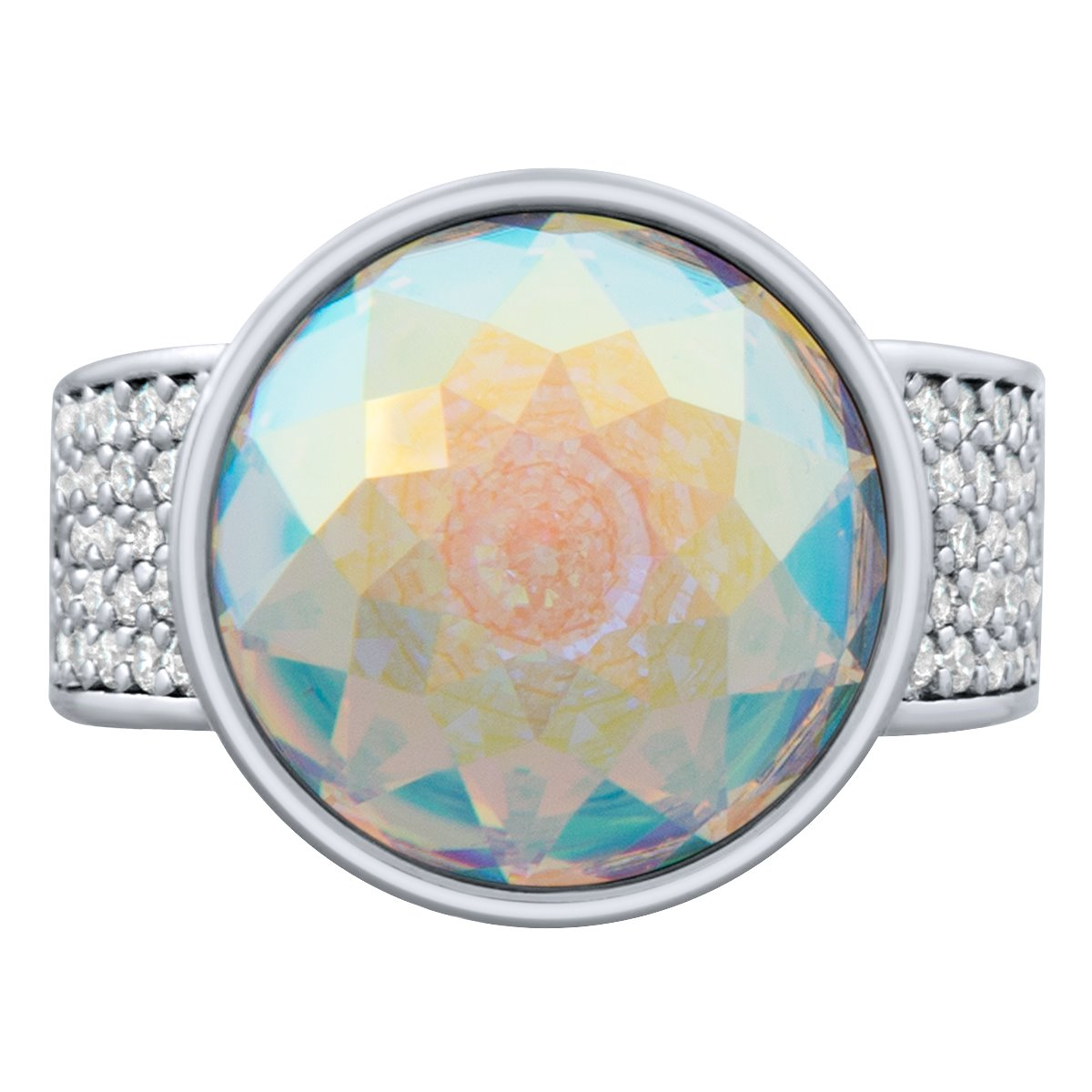 Elysees Ring Silver Aurora Borealis JOY OF SPARKLE FOREVER CRYSTALS