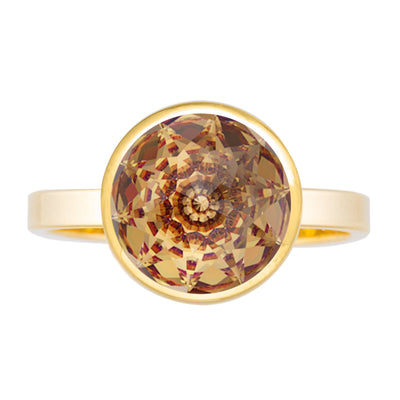 Elysees Solitaire Ring Gold Golden Shadow JOY OF SPARKLE FOREVER CRYSTALS
