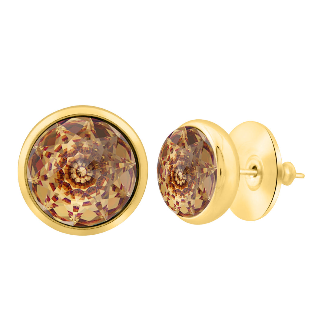 Elysees Stud Earrings Gold Golden Shadow JOY OF SPARKLE FOREVER CRYSTALS