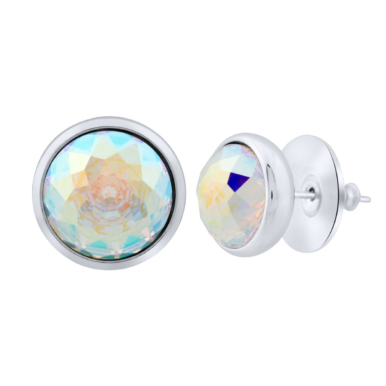 Elysees Stud Earrings Silver Aurora Borealis JOY OF SPARKLE FOREVER CRYSTALS