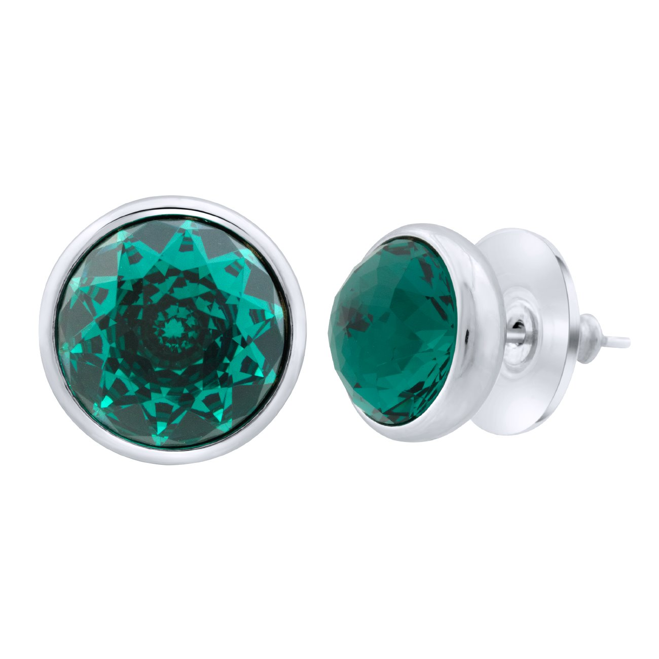 Elysees Stud Earrings Silver Emerald JOY OF SPARKLE FOREVER CRYSTALS