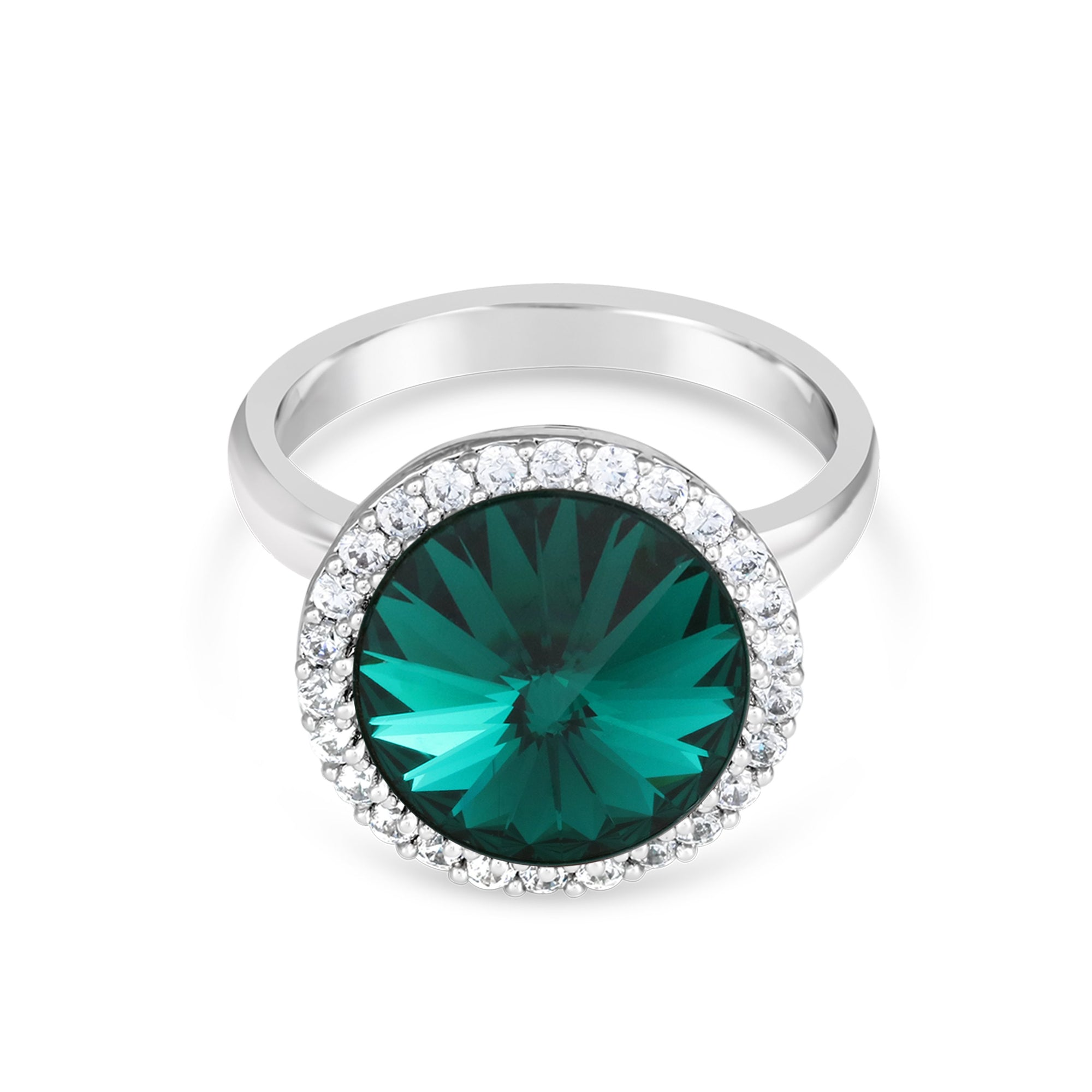 FANCY HALO RING EMERALD RING - FOREVER - ESSENTIALS - EMERALD 001