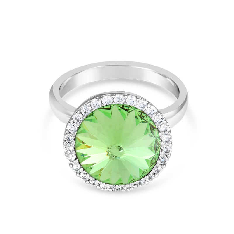 FANCY HALO RING PERIDOT RING - FOREVER - ESSENTIALS - PERIDOT 001