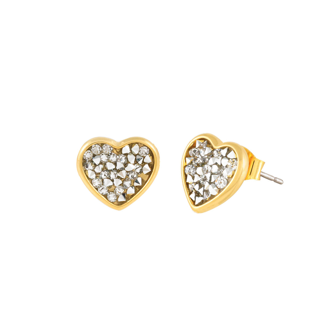 FEEL THE LOVE STUD EARRINGS GOLD CAL FEEL THE LOVE FOREVER CRYSTALS