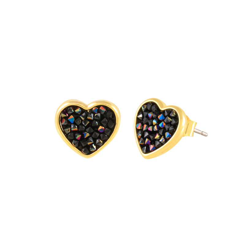 FEEL THE LOVE STUD EARRINGS GOLD JET