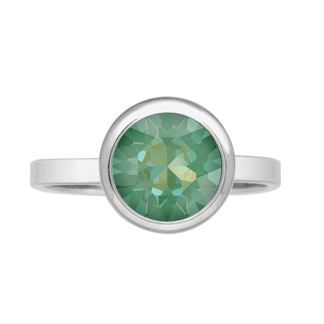 Grace Ring Silver Radiant Green NEW BEGINNINGS FOREVER CRYSTALS