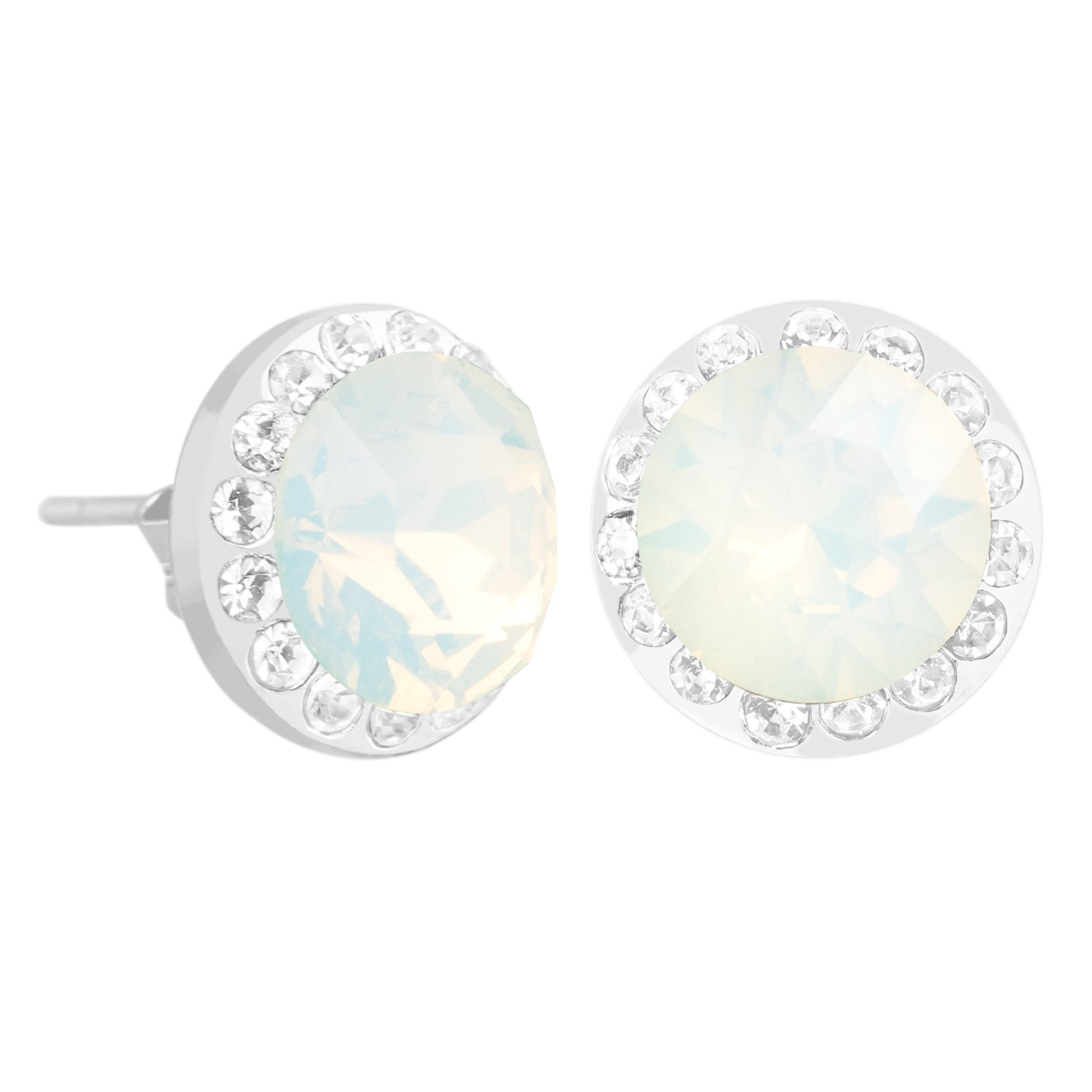 HALO EARRING WHITE OPAL EARRING - FOREVER - ESSENTIALS - WHITE OPAL 001