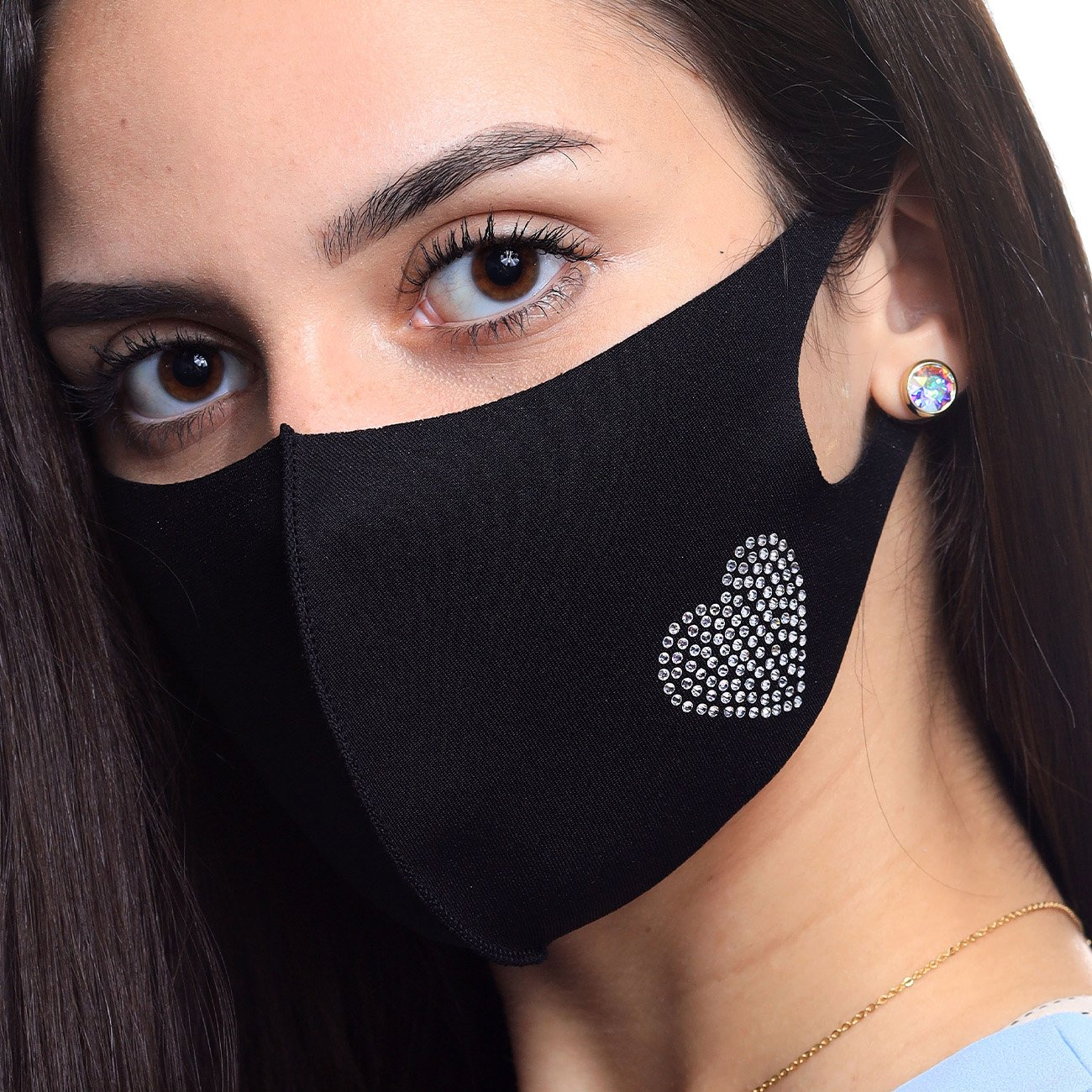HEART STONE FACE MASK BLACK Unclassified Forevercrystals