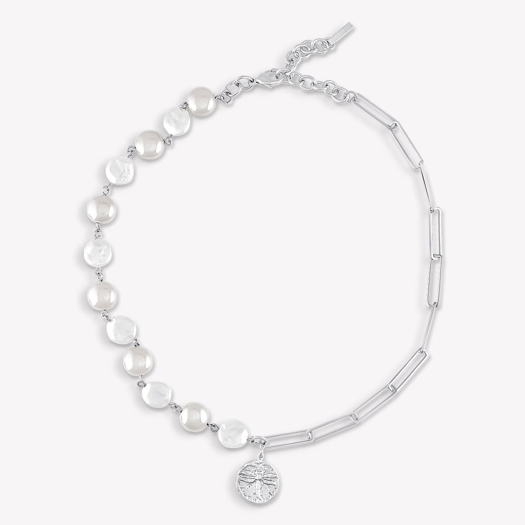 Joanna Pearl Necklace Silver FOREVER LINKED FOREVER CRYSTALS