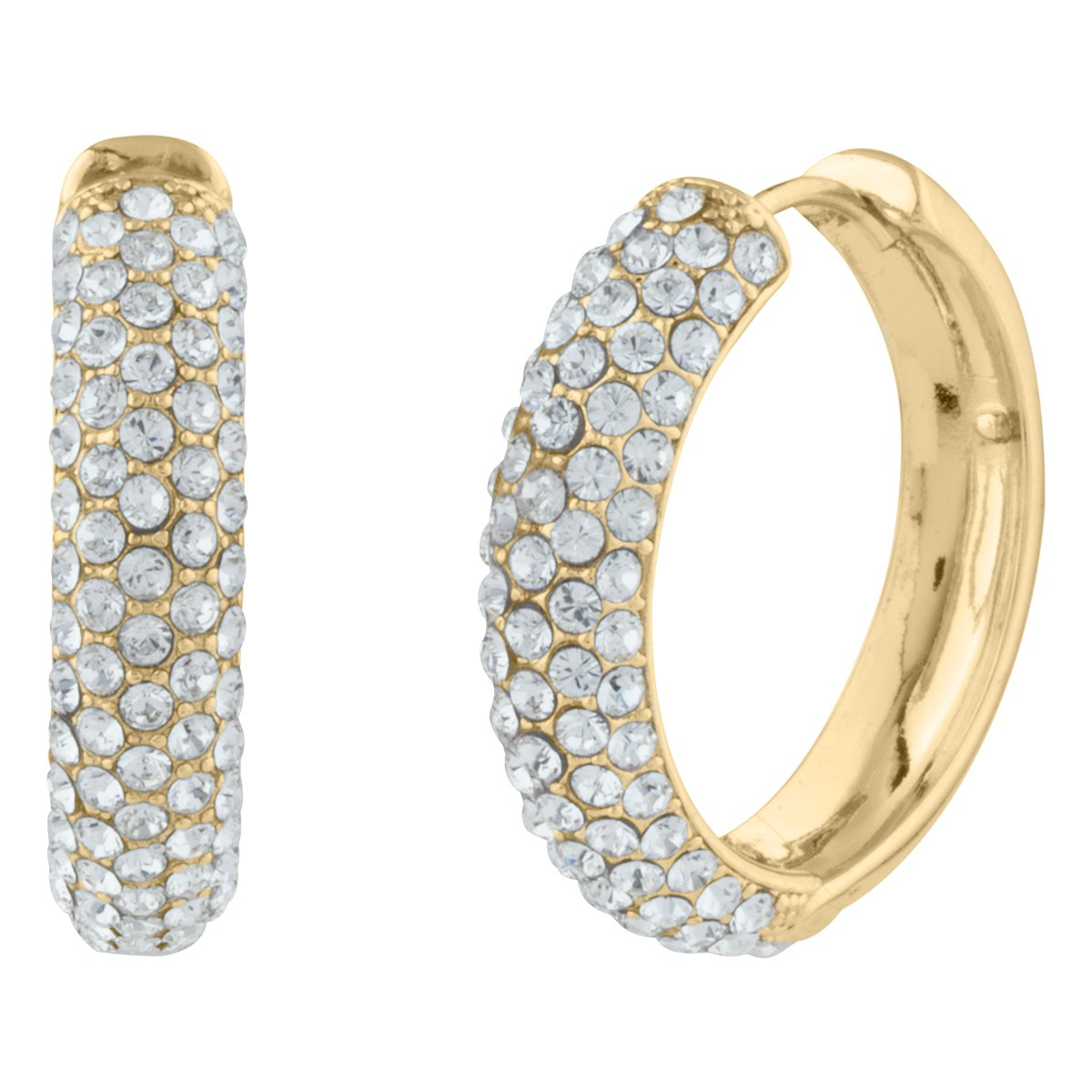 KELLY PAVE HOOP EARRING GOLD CRYSTAL