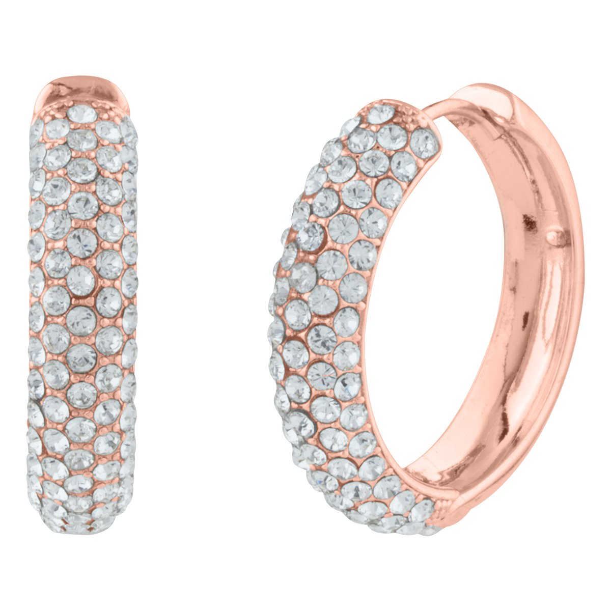 KELLY PAVE HOOP EARRING ROSE GOLD CRYSTAL