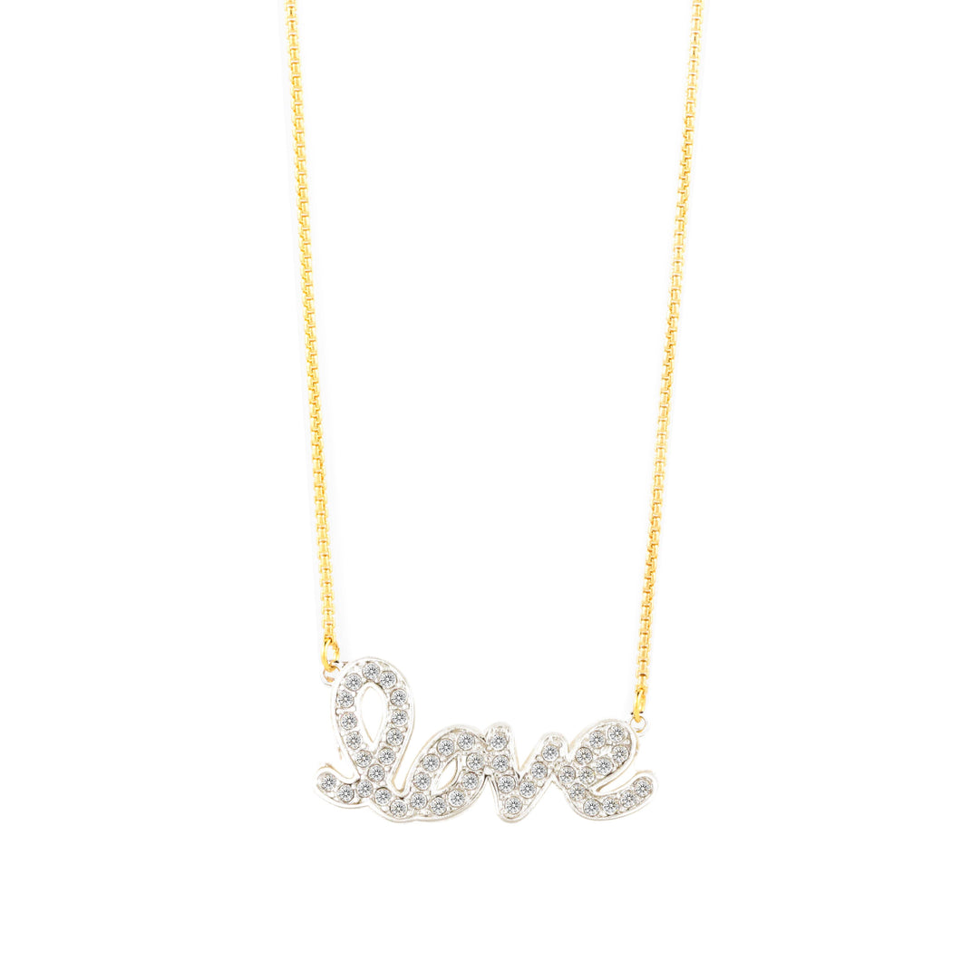 L-O-V-E NECKLACE TWO TONE CRYSTAL FEEL THE LOVE FOREVER CRYSTALS