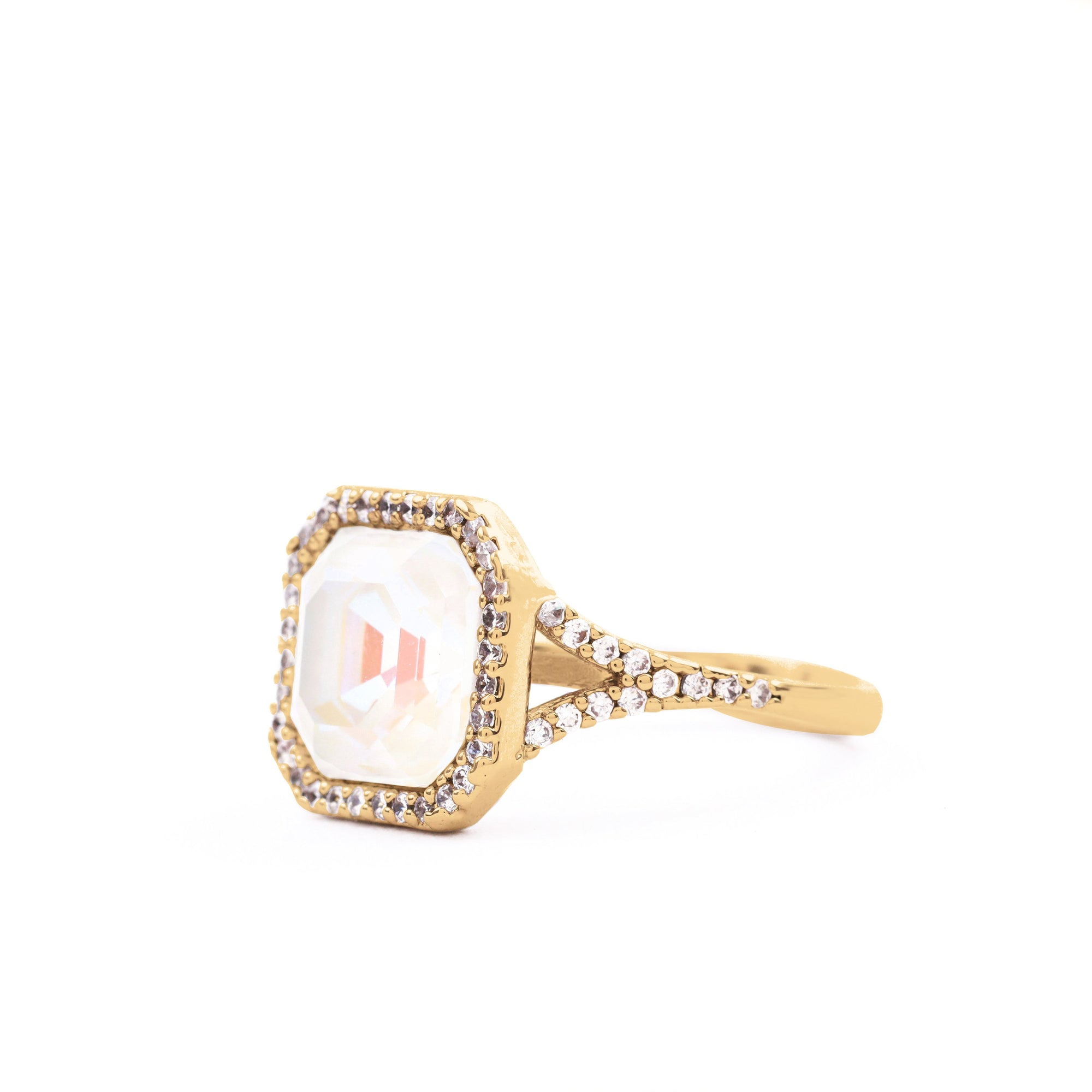 LORRAINE HALO RING GOLD LIGHT GREY DELITE RING - IMPERIAL FOREVER