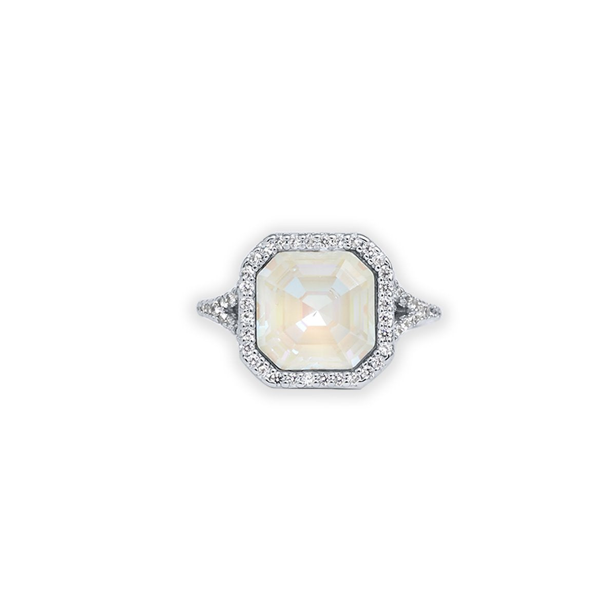 LORRAINE HALO RING SILVER LIGHT GREY DELITE IMPERIAL FOREVER CRYSTALS