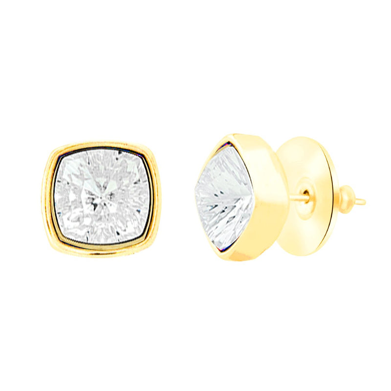 Louvre Stud Earrings Gold Crystal JOY OF SPARKLE FOREVER CRYSTALS