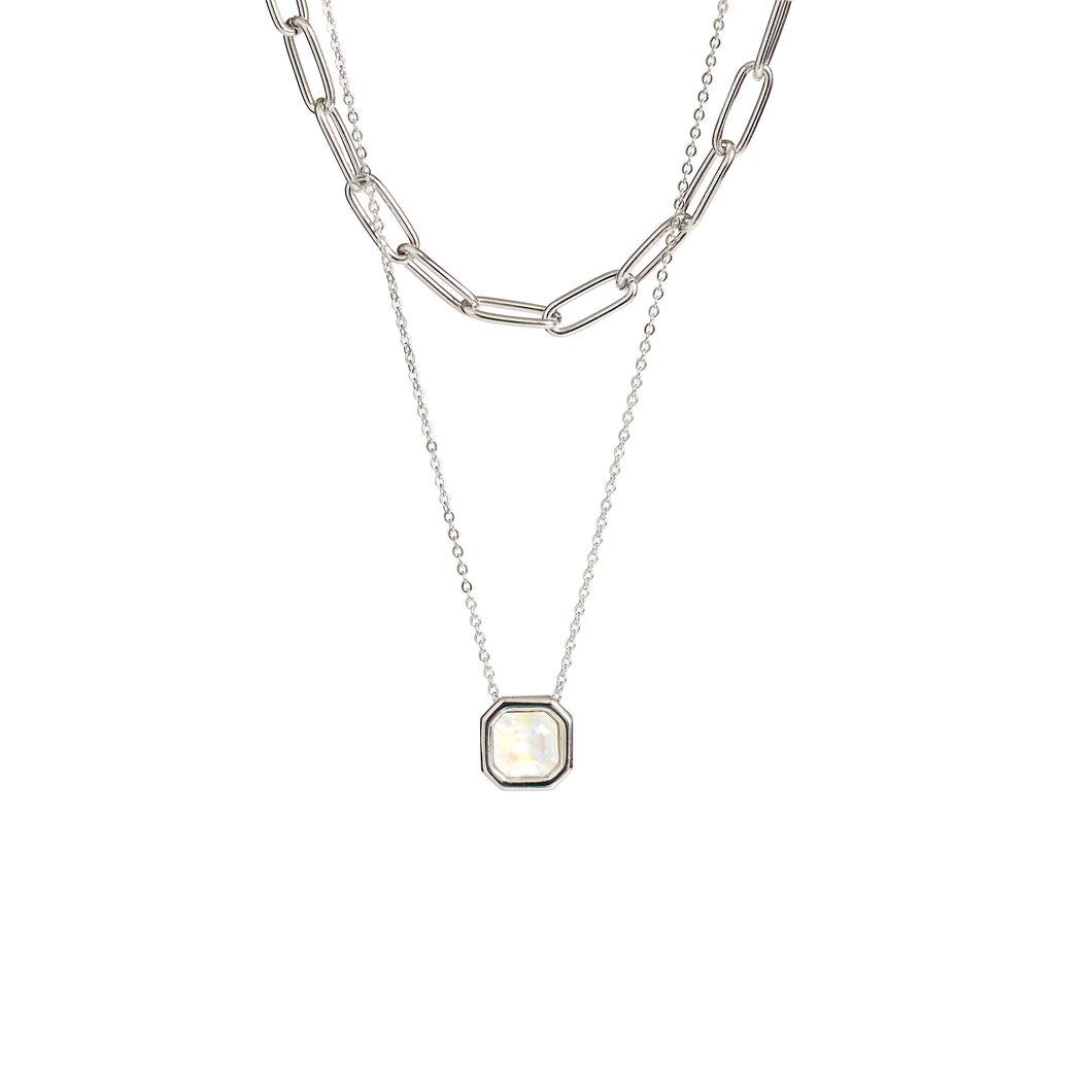 MABEL CHOKER NECKLACE SILVER LIGHT GREY DELITE NECKLACE - IMPERIAL FOREVER