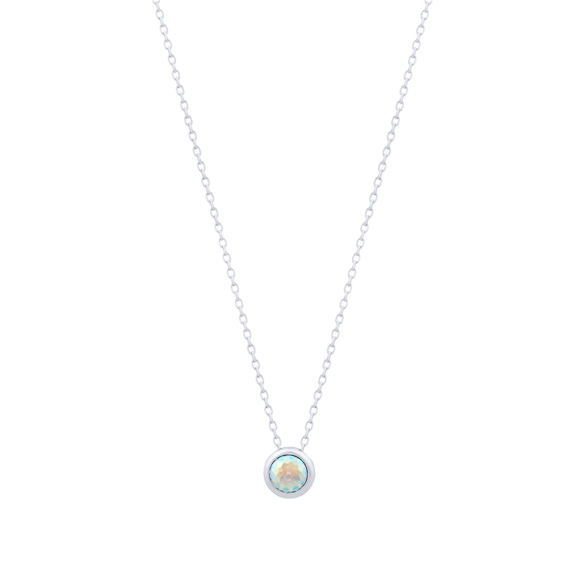 Nassau Necklace Silver Aurora Borealis JOY OF SPARKLE FOREVER CRYSTALS