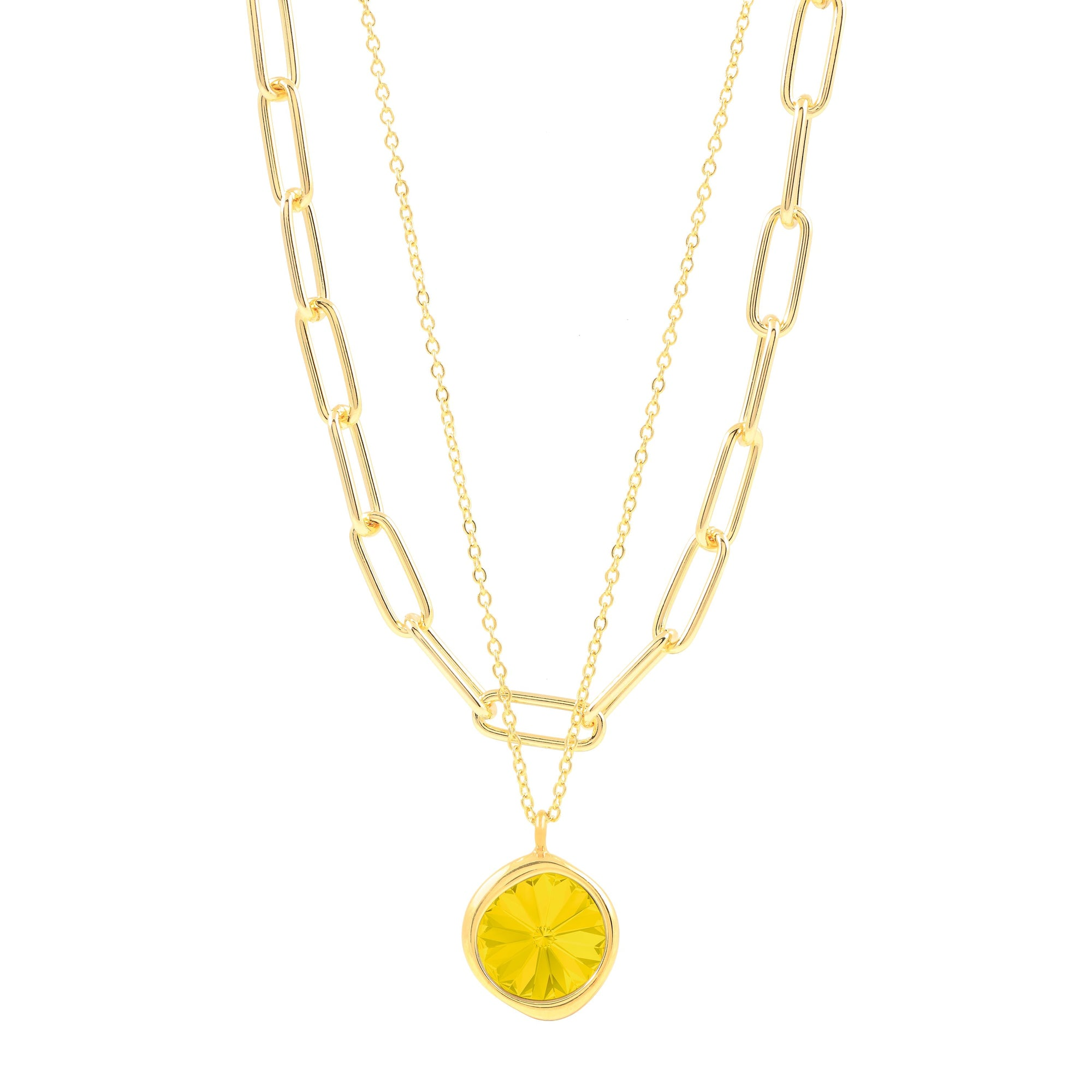 Orchid Necklace Gold Yellow Opal