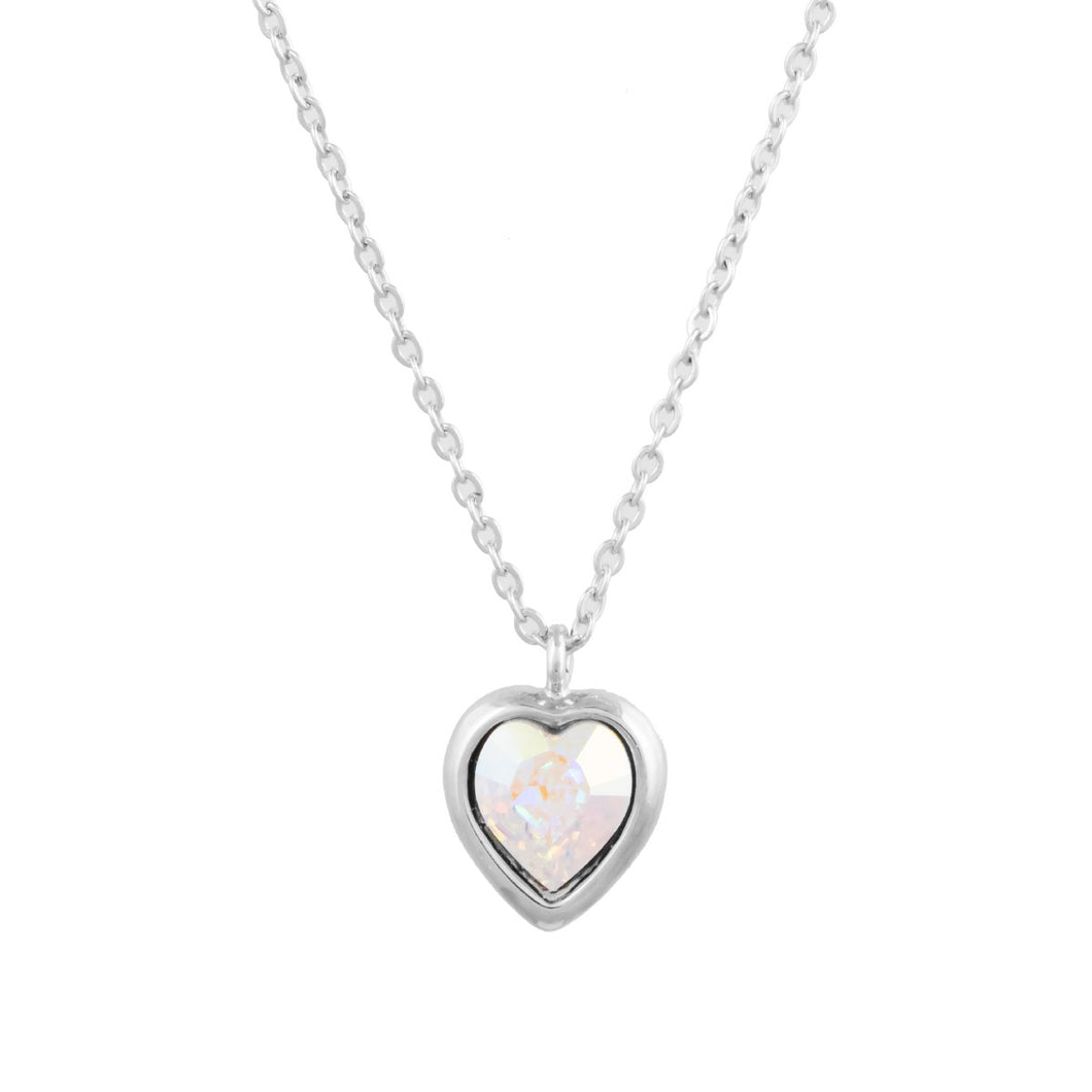 Petite Heart Necklace Aurora Borealis VOIAGE FOREVER CRYSTALS