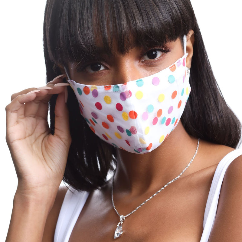 POLKA DOT FACE MASK MULTI WHITE Unclassified Forevercrystals