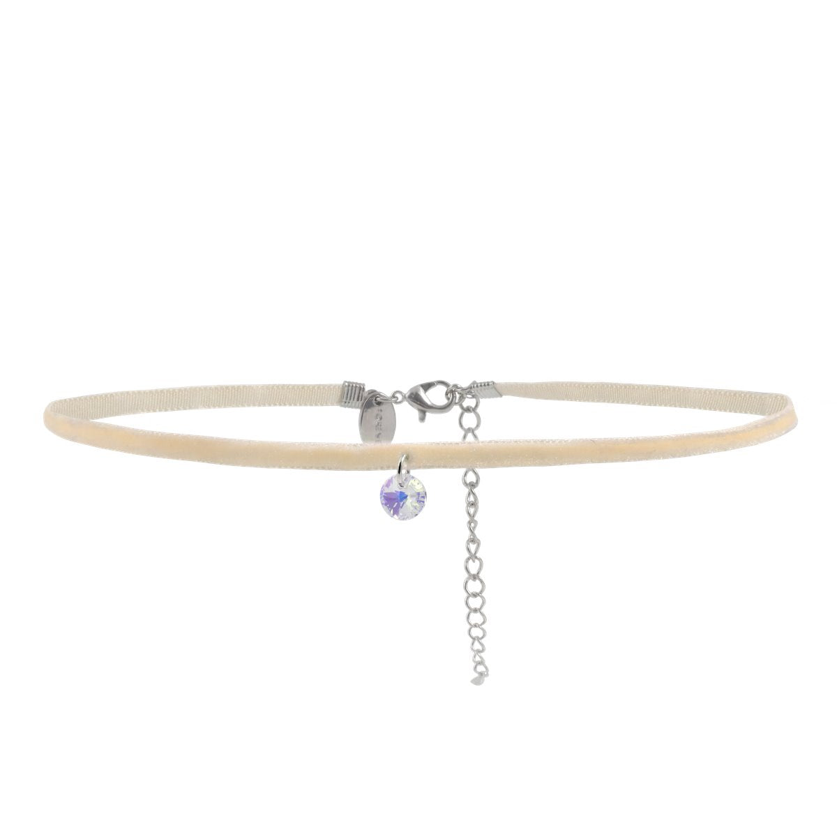 SMALL RIVOLI CHOKER NECKLACE BEIGE AURORA BOREALIS NECKLACE - FOREVER - ESSENTIALS - AURORA BOREALIS 001