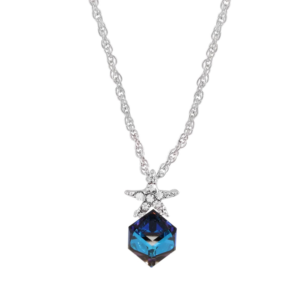 Starfish & Cube Pendant forevercrystals Bermuda Blue