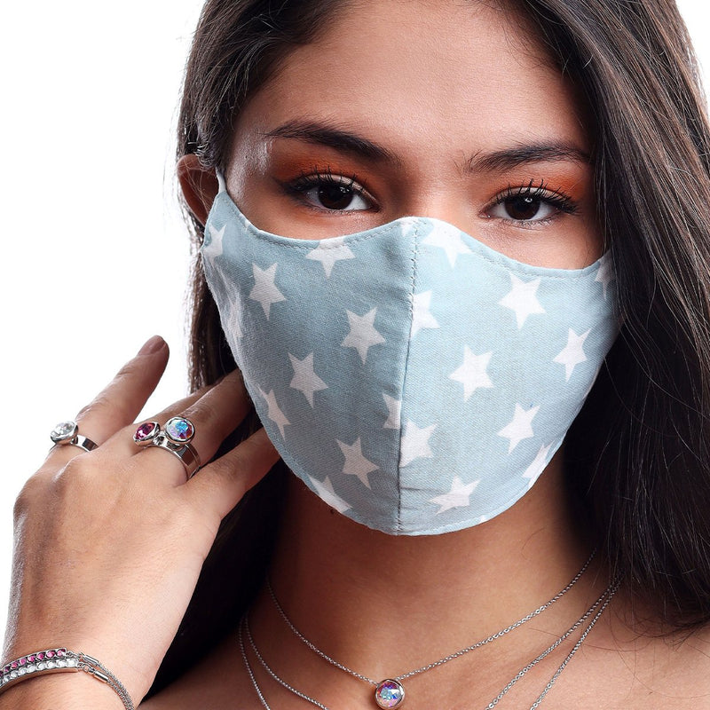 STARS FACE MASK BLUE ACCESSORY - FOREVER Forevercrystals