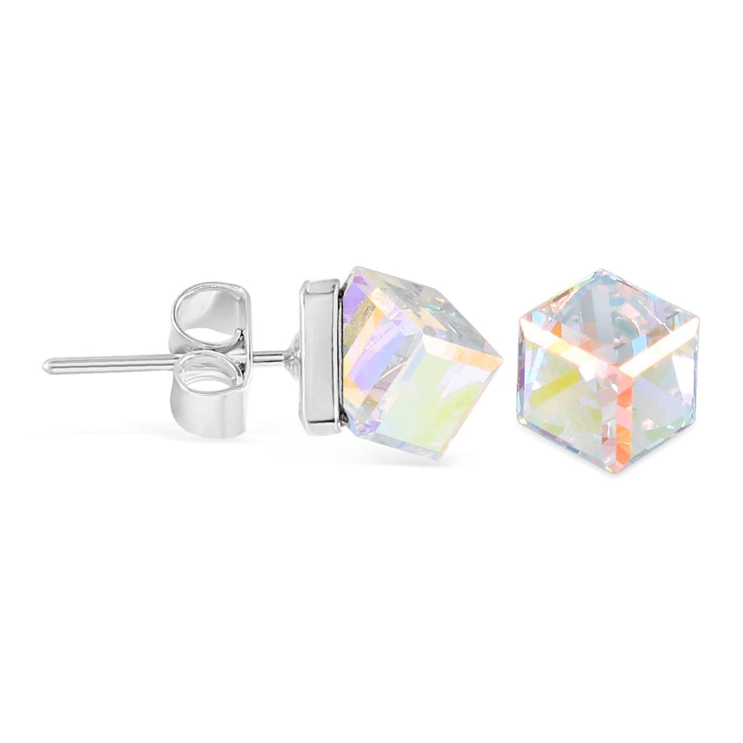 Swarovski Cube Stud Earrings forevercrystals