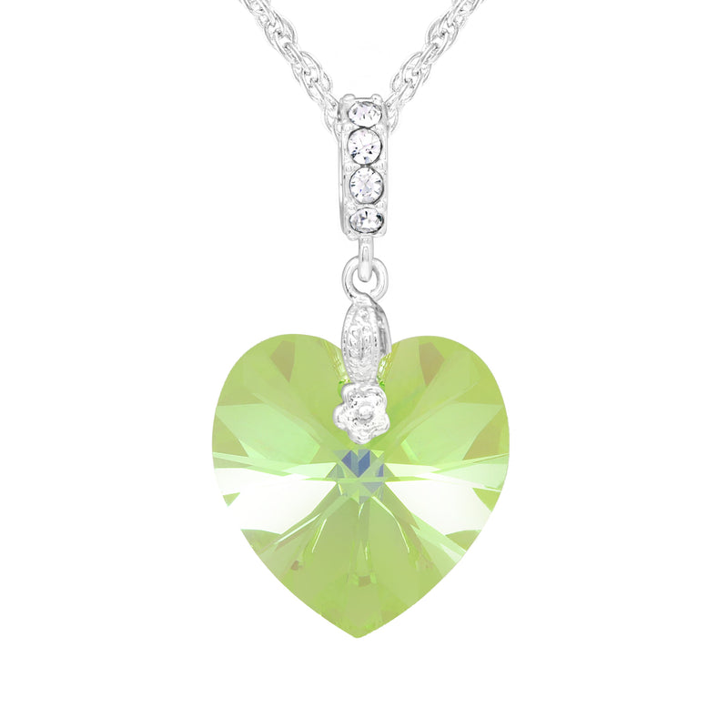 SWAROVSKI HEART PENDANT 18MM LIGHT GREEN PENDANT - SWAROVSKI - REFLECTIONS - PERIDOT SWAROVSKI NORTH AMERICA