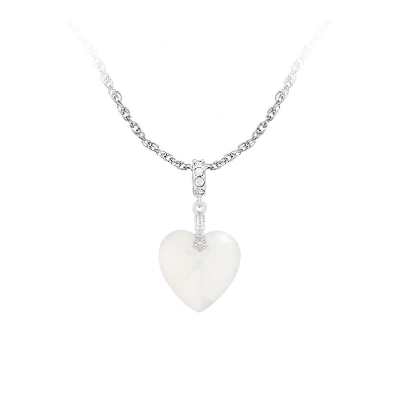 SWAROVSKI HEART PENDANT 18MM WHITE OPAL