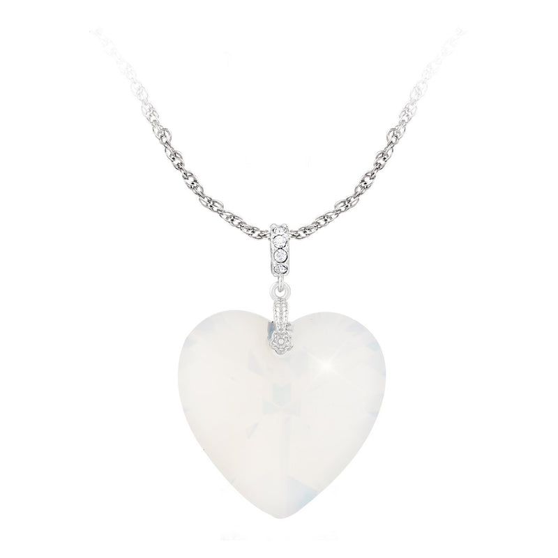 SWAROVSKI HEART PENDANT 28MM WHITE OPAL