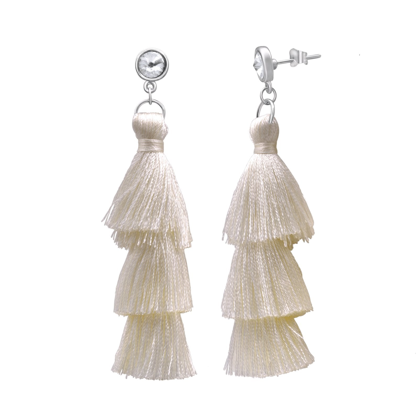 Tassel Drop Earrings forevercrystals White