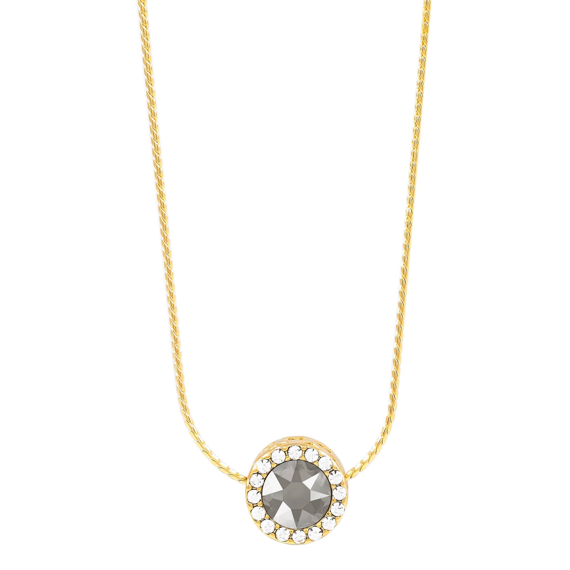 Zinnia Reversible Necklace Gold Dark Grey NEW BEGINNINGS FOREVER CRYSTALS