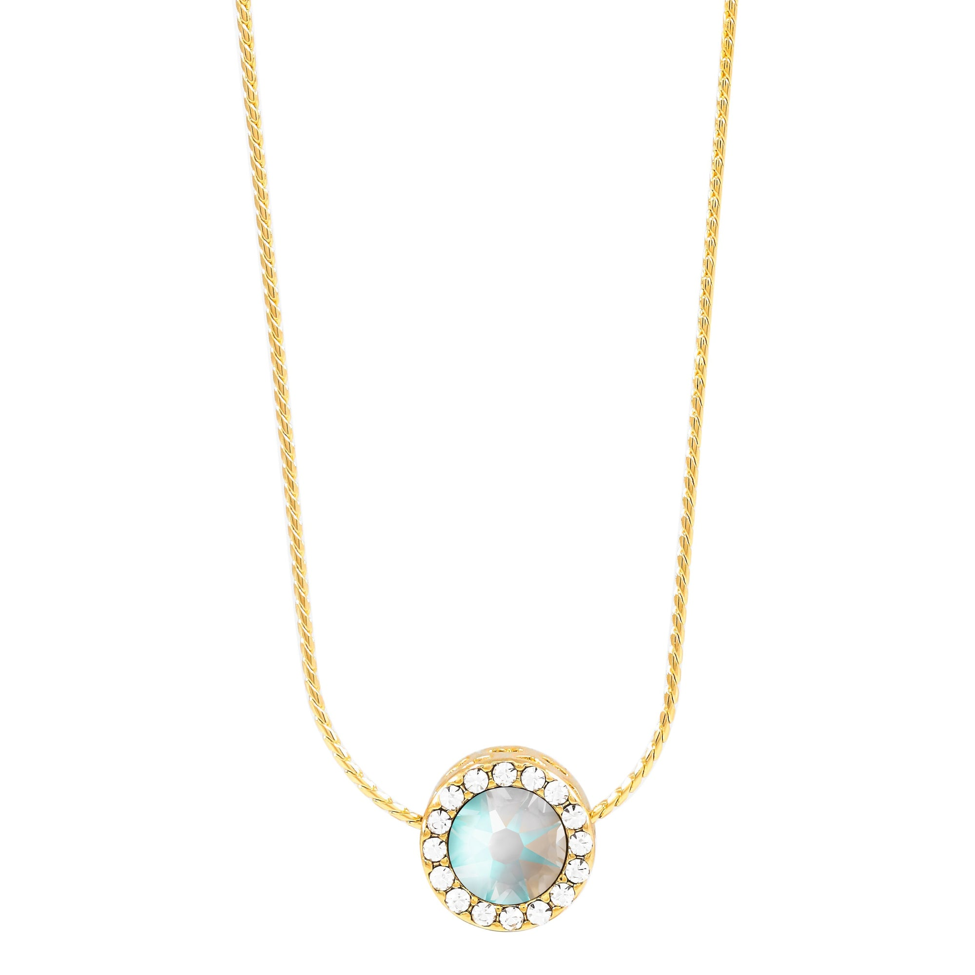 Zinnia Reversible Necklace Gold Light Grey Delite NEW BEGINNINGS FOREVER CRYSTALS