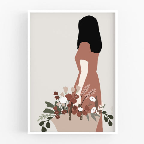 Art Print - Flower Lady with Floral Basket