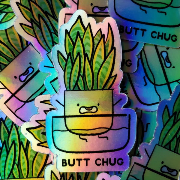 Butt Chug Holographic Vinyl Die Cut Sticker